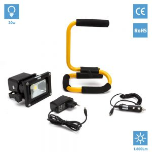 Foco Proyector LED Recargable 20W Blanco